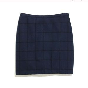 Madewell Broadway and Broome Navy Wool Check Skirt